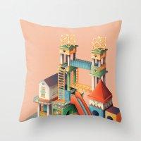 escher Throw Pillows featuring Escher playground  by Chiara Vercesi