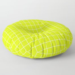 Volt - green color - White Lines Grid Pattern Floor Pillow