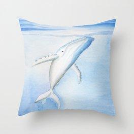 Nada - White Humpback Whale Throw Pillow
