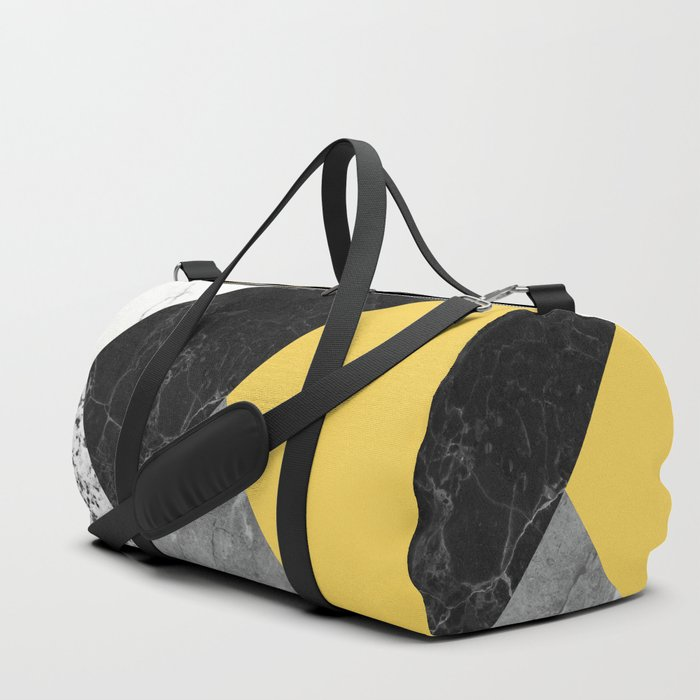 Black and White Marbles and Pantone Primrose Yellow Color Duffle Bag