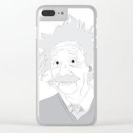Albert Einstein Illustration Clear iPhone Case