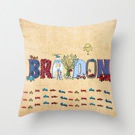 BRAYDON / personalised name illustration Throw Pillow
