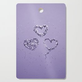 Ultra Violet LOVE Glitter Hearts #1 #shiny #decor #art #society6 Cutting Board