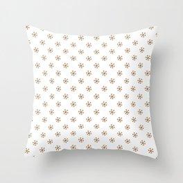 Chocolate Brown on White Snowflakes Throw Pillow