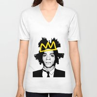 basquiat V-neck T-shirts featuring BASQUIAT YELLOW by SebinLondon