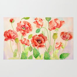 Watercolor Red Oriental Poppies Rug