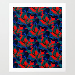 Mixed Paradise Tropicals in Indigo/Red Art Print