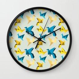 paper cranes in flight Wall Clock