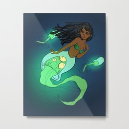 Jellyfish Mermaid Metal Print