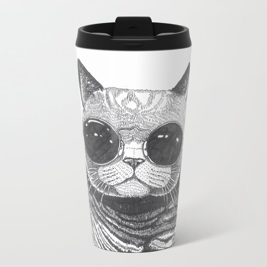 cool cat Metal Travel Mug