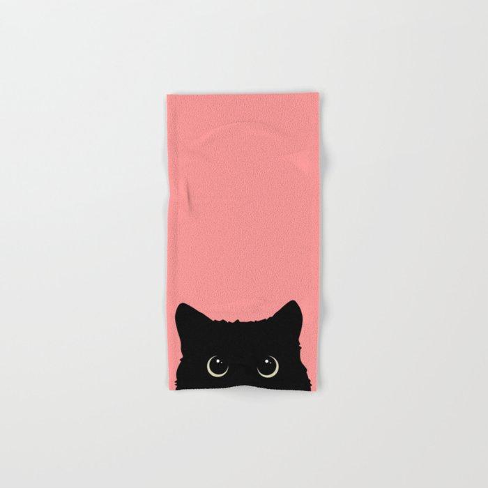 Sneaky black cat Hand & Bath Towel