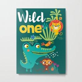 Jungle Animals Kids Animal Safari Pattern Metal Print
