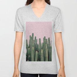 Pink Sky Cactus Unisex V-Neck