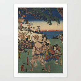 A game of Sumo Wrestling. Art Print