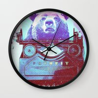 writer Wall Clocks featuring Grizzly writer by RedGoat