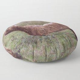 Vintage Scottish cow - Thurso, The Highlands, Scotland Floor Pillow