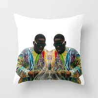 biggie smalls Throw Pillows featuring Biggie Smalls by IFEELFREEDXM