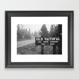 Old Faithful sign in snow, Yellowstone National Park Framed Art Print