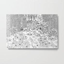 Garden of Monet - Line Art Metal Print