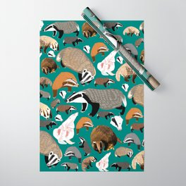 Eurasian badgers pattern teal Wrapping Paper