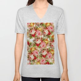 Boho chic pink yellow red roses floral vintage painting Unisex V-Neck