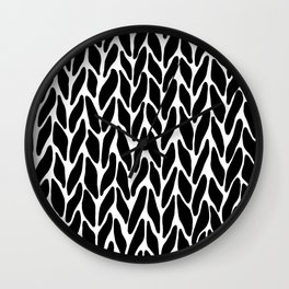 Hand Knitted Black on White Wall Clock
