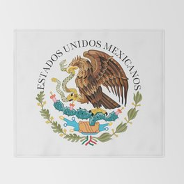 Coat of Arms & Seal  of Mexico on white Throw Blanket