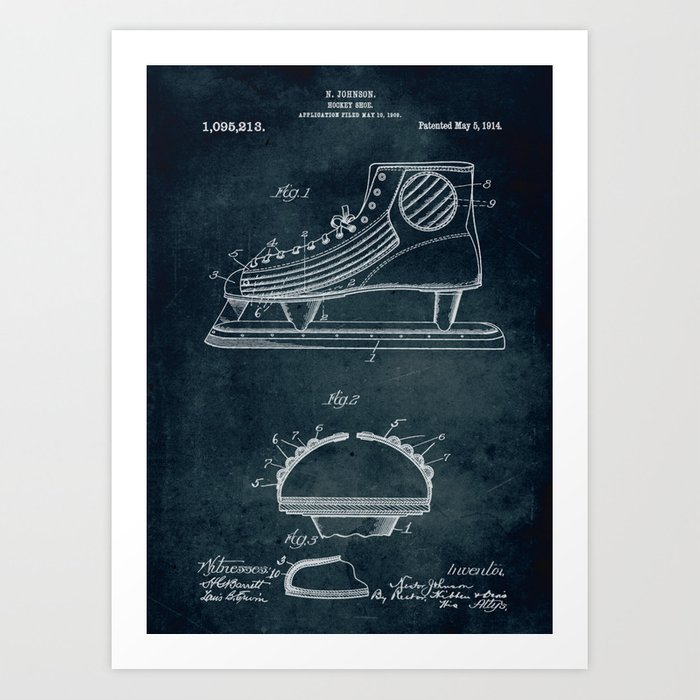 1909 - Hockey shoe patent art Kunstdrucke