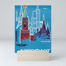1968 Aeroflot / Аэрофлот - Europe To Moscow Vintage Airline Poster Mini Art Print