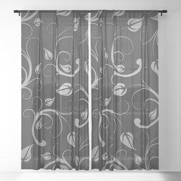 Floral Abstract Vine Art Print Design Sheer Curtain