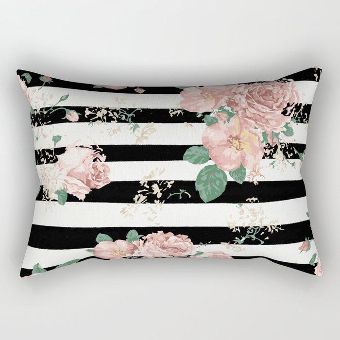 VINTAGE FLORAL ROSES BLACK AND WHITE STRIPES Rectangular Pillow