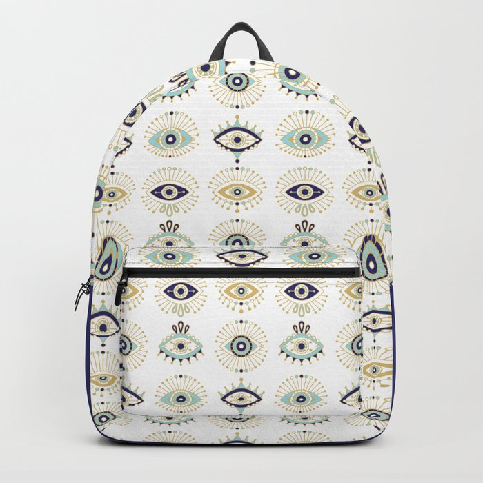 Evil Eye Collection on White Backpack