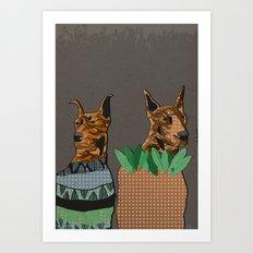 Stylish dogs Art Print