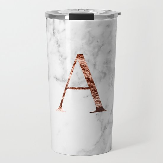 Monogram rose gold marble A by marbleco