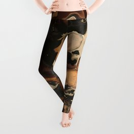 Old Brown Marble texture acrylic Liquid paint art Leggings