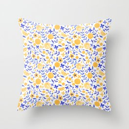 Orange and Flowers - Yellow and Blue Throw Pillow