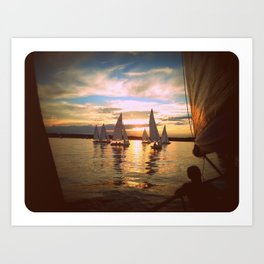 Sunset and small boats Art Print