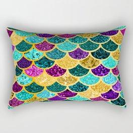 Glitter Purple, Aqua and Gold Mermaid Scales Pattern Rectangular Pillow