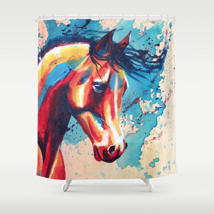 Horse Portrait Shower Curtain By Floartstudio