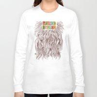 portland Long Sleeve T-shirts featuring Portland = Beards by Rachel Caldwell