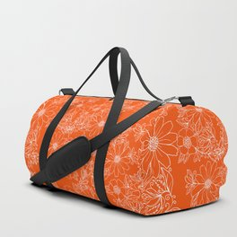 Hand drawn white bright orange modern floral Duffle Bag