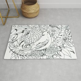 Sketched bird and flowers Rug