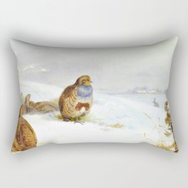 Archibald Thorburn - Hard times- partridges and a hare - Digital Remastered Edition Rectangular Pillow