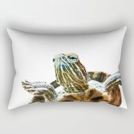 Small red-eared turtle in aquarium Rectangular Pillow