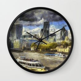The River Thames And City Art Wall Clock