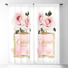 Perfume bottle with Flowers, Pink Roses, Make up, Blush Blackout Curtain