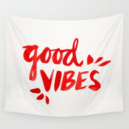 Good Vibes – Red Ink Wall Tapestry