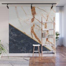 Classy Elegant White Blue Gold Marble Wall Mural