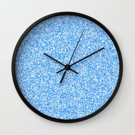 Spacey Melange - White and Dodger Blue Wall Clock