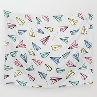 airplanes Wall Tapestries featuring Paper Planes in Pastel by Tangerine-Tane